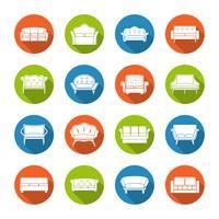 icone del divano piatte vettore