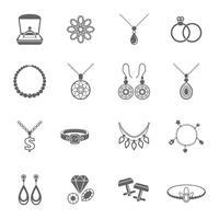 Icona di gioielli nero vettore