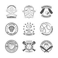 Set di icone di etichette di baseball vettore