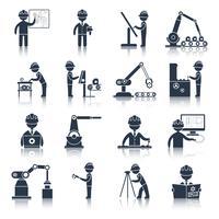 Icone di ingegneria nere