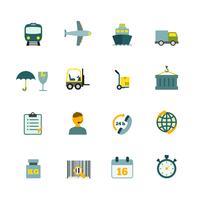 Icone logistiche impostate piatte vettore