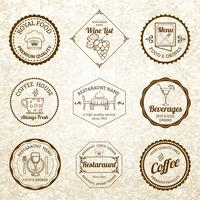 Set di etichette ristorante nero