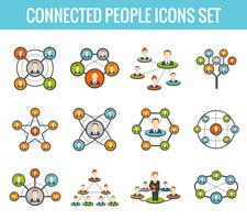 Set di icone piane di persone collegate