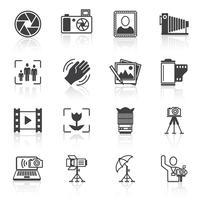 Icone nere di fotografia vettore