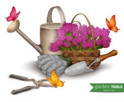 Sfondo di attrezzi da giardino