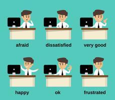 Insieme di emozioni dell'uomo d'affari