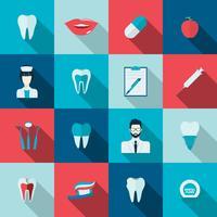 Icone dei denti piatte vettore