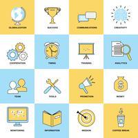 Set di icone linea piatta di affari vettore