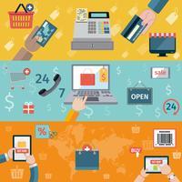Banner T-commerce piatto vettore