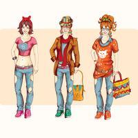 Set di ragazze hipster vettore