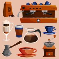 Set di elementi di caffè vettore