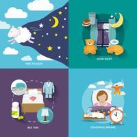 Icone del tempo di sonno piatte