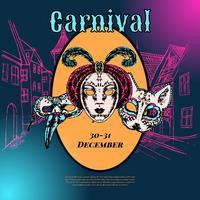 Manifesto di composizione maschera veneziana di Carnevale