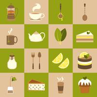 Set di icone di tè vettore