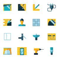 Icone di riparazione a casa piatte vettore