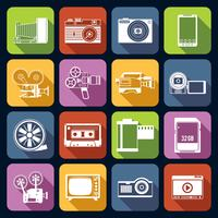 Set di icone di foto video vettore