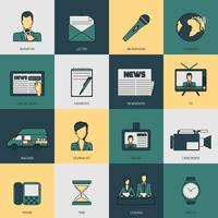 Icone di notizie linea piatta vettore