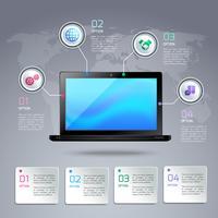 Modello di infografica per computer portatile vettore