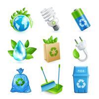 Ecologia e set di icone di rifiuti