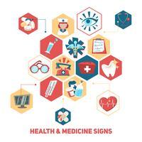 Concetto di segni di salute e medici vettore