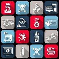 Icone di hacker impostate piatte vettore