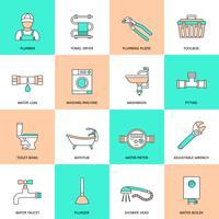 Set di icone piane di impianti idraulici