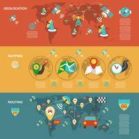 Set di banner piatti di navigazione mobile