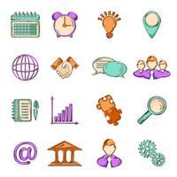 Icone di linea di schizzo di affari