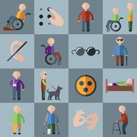 Icone disabili impostate vettore