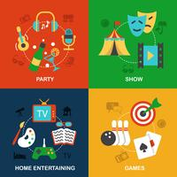 Icone di divertimenti piatte