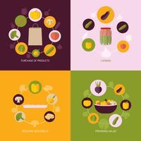 Set di icone di verdure piatte