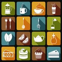Set di icone del tè piatte vettore