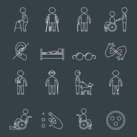 Le icone disabili hanno fissato il profilo vettore
