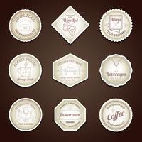 Set di etichette ristorante vettore