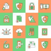 Icone di sicurezza di protezione dei dati