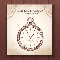 Vecchia carta vintage orologio da tasca