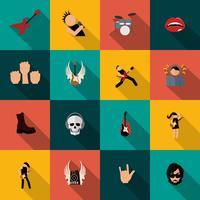 Icone di musica rock piatte vettore