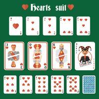 Set di cuori di carte da gioco