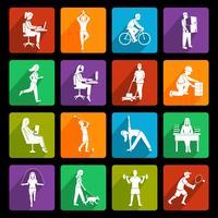 Icone di attività fisica piatte vettore