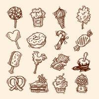 Insieme dell'icona di schizzo di dolci vettore