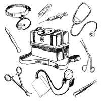 Icone mediche di schizzo degli accessori di medico messe vettore