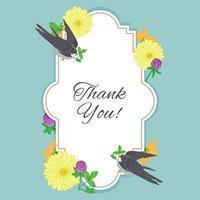 Cartolina di fiori vintage con uccello