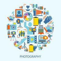 Icone di fotografia piatte vettore