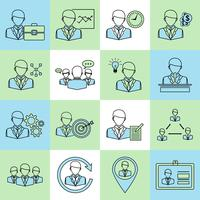 Linea piatta di icone di affari e gestione