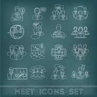 Set di icone di contorno di riunione vettore
