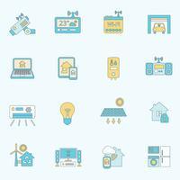 Linea piatta di icone casa intelligente