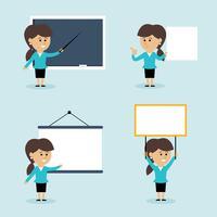 Set di presentazione imprenditrice vettore