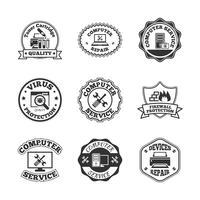 Set di icone di etichette riparazione computer
