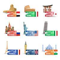 Set di biglietti per i monumenti del mondo vettore