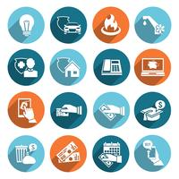 Pay Bill Icons Set piatto